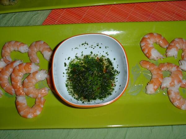 crevettes sauce au citron vert et coriandre